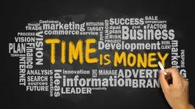 Tempo é dinheiro com a nuvem da palavra do negócio escrita à mão no quadro-negro Imagens de Stock