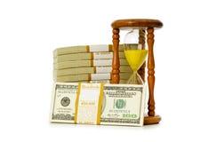 Tempo é dinheiro conceito com dólares Fotografia de Stock
