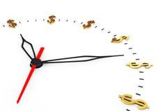 Tempo é dinheiro conceito Pulso de disparo com sinais de dólar Imagem de Stock Royalty Free