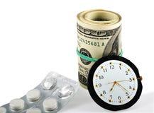 Tempo, dinheiro e cuidados médicos Fotografia de Stock