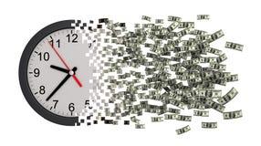 Tempo é dinheiro Pulso de disparo que cai distante aos dólares Imagem de Stock Royalty Free