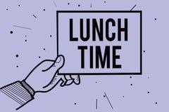 Tempo do almoço da escrita do texto da escrita Refeição do significado do conceito no meio do dia após o café da manhã e antes da ilustração royalty free