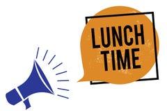 Tempo do almoço do texto da escrita da palavra Conceito do negócio para a refeição no meio do dia após o café da manhã e antes do ilustração royalty free