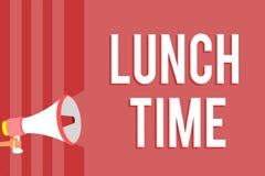 Tempo do almoço do texto da escrita da palavra Conceito do negócio para a refeição no meio do dia após o café da manhã e antes do ilustração stock