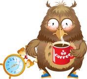 Tempo do amanhecer - coruja engraçada com xícara de café  Fotos de Stock Royalty Free