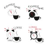 Tempo do café Elementos do projeto da ilustração do vetor Imagem de Stock Royalty Free
