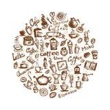 Tempo do café, elementos do projeto Fotos de Stock