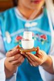 Tempo do ch?, copo bonito da porcelana do ch? nas m?os yunnanese da menina na loja do ch?, Mae Salong Village, Chiang Rai, Tail?n imagem de stock