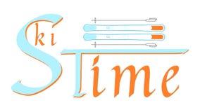 Tempo do esqui - hora para o resto, atividade, divertimento ilustração royalty free