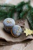 Tempo do Natal, bolinhos de amêndoa Fotografia de Stock Royalty Free
