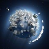 Tempo do Natal no planeta pequeno ilustração stock