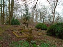 Tempo do outono no cemitério judaico abandonado e registado velho Imagem de Stock Royalty Free