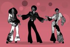Tempo do partido da alma Grupo de homem e de duas meninas que dançam a alma, o funk ou o disco Fotografia de Stock