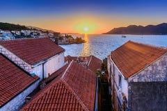 Tempo do por do sol na Croácia Foto de Stock Royalty Free