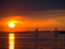Tempo do por do sol na Suécia Fotografia de Stock Royalty Free