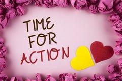Tempo do texto da escrita da palavra para a ação O conceito do negócio para faz algo agora para um ato particular da finalidade n Fotos de Stock
