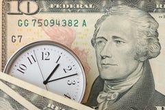 Tempo e dinheiro Fotos de Stock Royalty Free