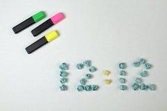 Tempo e três marcadores Fotografia de Stock Royalty Free