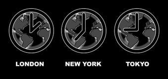 Tempo em Londres, em New York e em tokyo ilustração royalty free