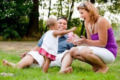 Tempo feliz com o bebê Fotografia de Stock