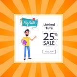 Tempo ilimitado da venda grande cartaz de um disconto de 25 por cento Imagem de Stock