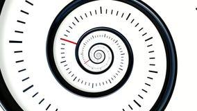 Tempo infinito Fundo de giro infinito do pulso de disparo Fundo preto e branco do relógio video estoque