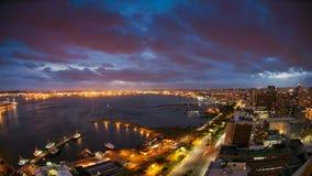 Tempo-lapso do porto e da cidade de Durban, África do Sul