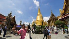 Tempo-lapso 4K de Wat Phra Kaew e do palácio grande filme