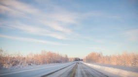 Tempo-lapso que conduz com a paisagem congelada vídeos de arquivo