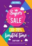 Tempo limitado da venda super Ilustração do vetor Imagens de Stock