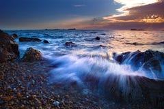 Tempo obscuro no mar Fotografia de Stock Royalty Free