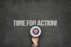 Tempo per azione sulla lavagna con il megafono Immagine Stock Libera da Diritti