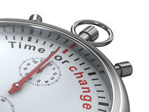 Tempo per cambiamento. Cronometro su priorità bassa bianca Fotografie Stock