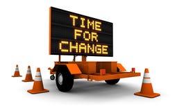 Tempo per cambiamento - messaggio del segno della costruzione Immagine Stock Libera da Diritti