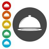 Tempo per le icone del pranzo messe illustrazione di stock