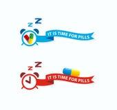 È tempo per le pillole Pillole etichetta, concetto della presa dell'icona Non dimentichi Fotografie Stock