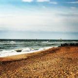 Tempo piacevole della sabbia di vista del mare Immagine Stock