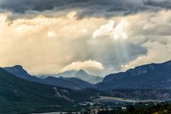 Tempo piovoso in alpi del sud Fotografia Stock Libera da Diritti