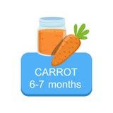 Tempo raccomandato di alimentare il bambino con l'autoadesivo fresco di informazioni del fumetto della carota con la verdura fres Fotografie Stock