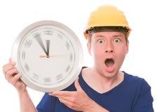 Tempo scioccante della costruzione (l'orologio di filatura passa la versione) immagini stock