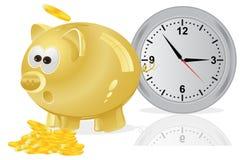 Tempo, soldi, concetto, porcellino salvadanaio, dorato Fotografia Stock