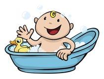 Tempo sveglio felice del bagno del bambino illustrazione vettoriale