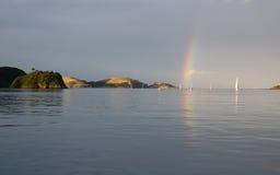 Tempo tempestoso nella baia delle isole NZ immagine stock