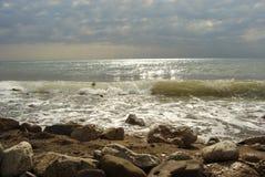 Tempo tempestoso sopra la spiaggia Immagini Stock