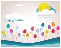 Tempo variopinto della molla di Pasqua dei pantaloni a vita bassa felici con le uova come fiori Fotografia Stock