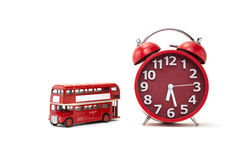 tempo vermelho do ônibus Fotos de Stock Royalty Free