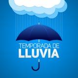 Temporada de lluvia, Rain season spanish text, umbrella with clouds Stock Photos