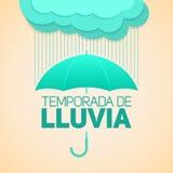 Temporada de Lluvia, spanischer Text der Regenjahreszeit, Regenschirm mit Wolken Stockfotografie