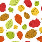 Temporada de otoño del ornamento de Autumn Seamless Pattern Background Leaves Imagenes de archivo