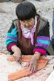Temporada de pesca de color salmón en Chukotka Imagenes de archivo